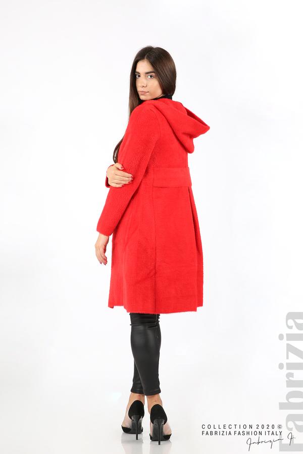 Дълго палто с качулка червен 5 fabrizia