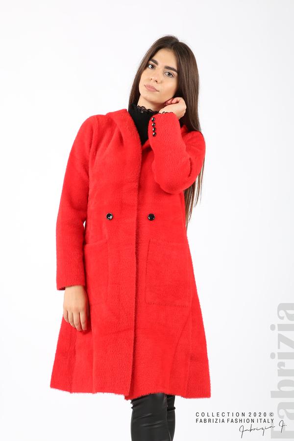 Дълго палто с качулка червен 6 fabrizia
