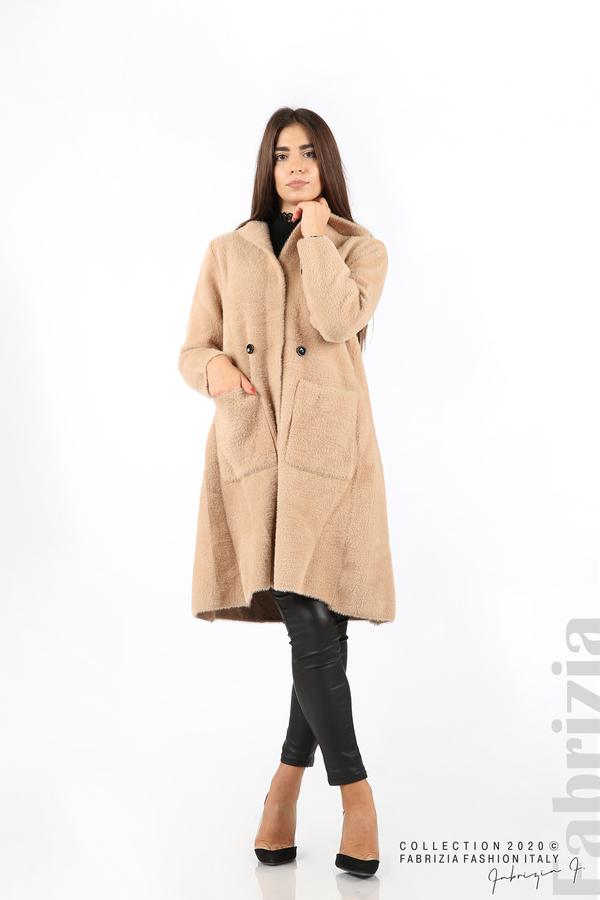 Дълго палто с качулка т.бежов 2 fabrizia