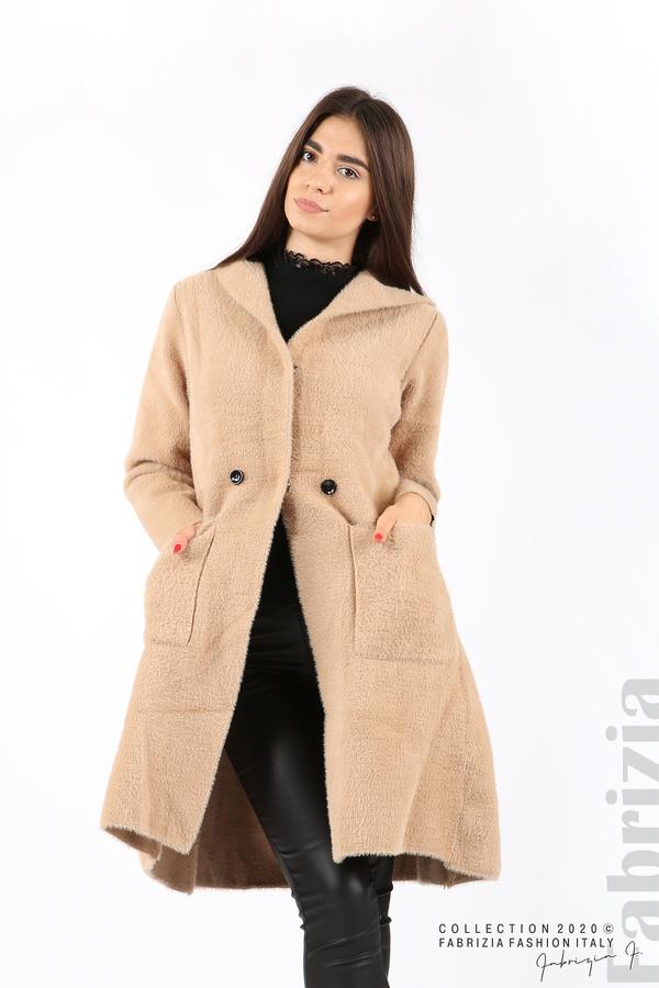 Дълго палто с качулка т.бежов 1 fabrizia