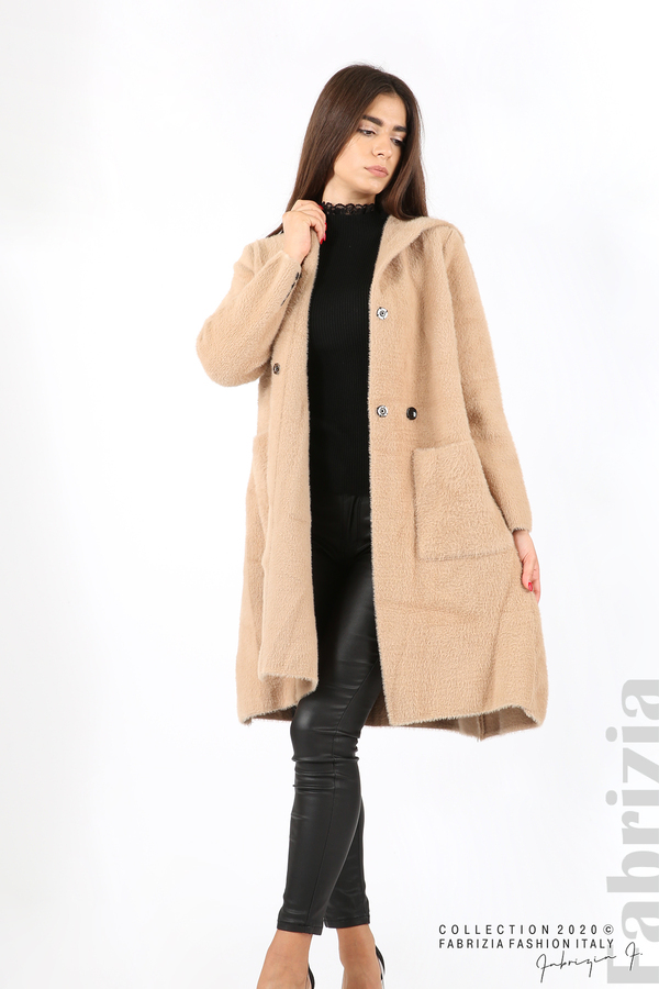 Дълго палто с качулка т.бежов 4 fabrizia