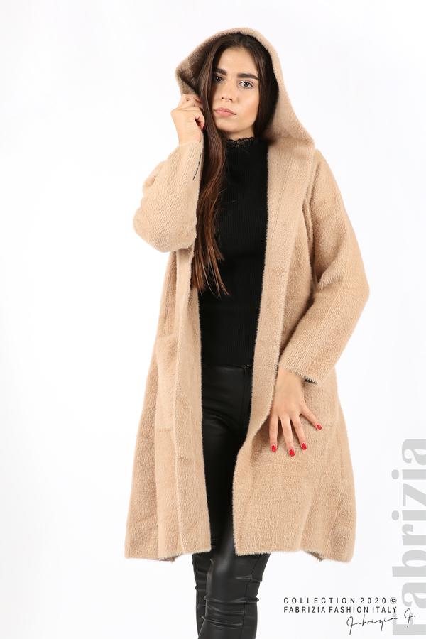 Дълго палто с качулка т.бежов 5 fabrizia