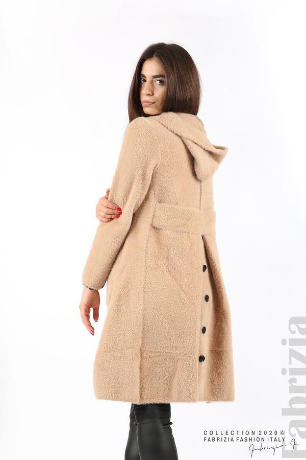Дълго палто с качулка т.бежов 3 fabrizia