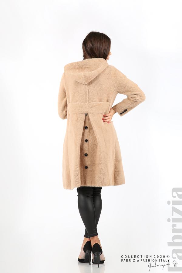 Дълго палто с качулка т.бежов 6 fabrizia