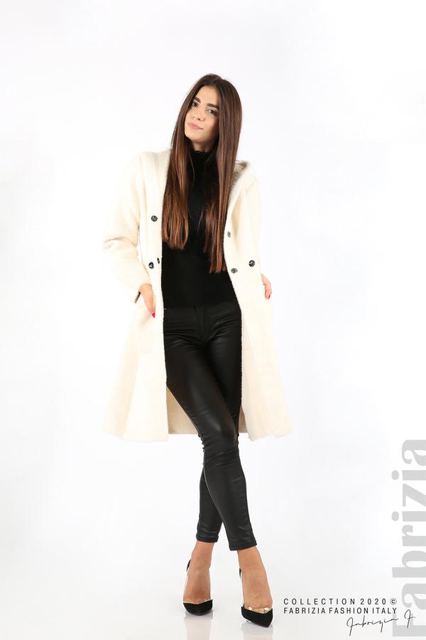 Дълго палто с качулка екрю 3 fabrizia