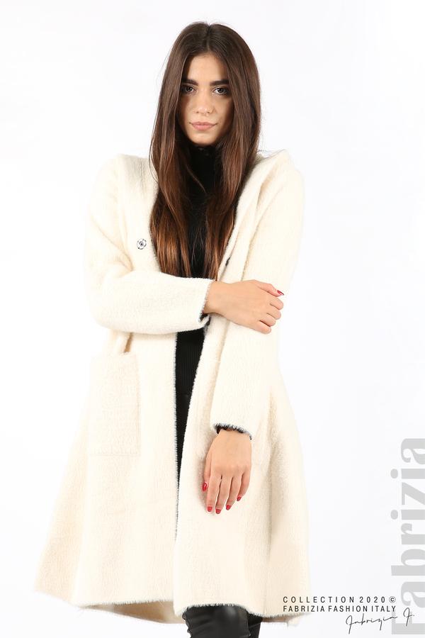 Дълго палто с качулка екрю 4 fabrizia