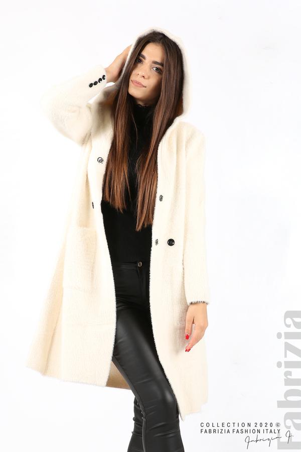 Дълго палто с качулка екрю 2 fabrizia