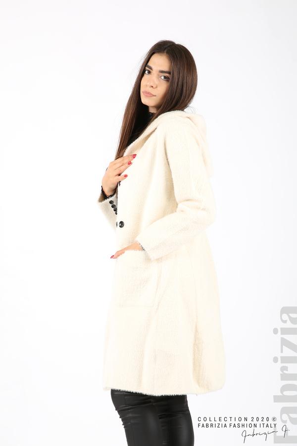Дълго палто с качулка екрю 1 fabrizia