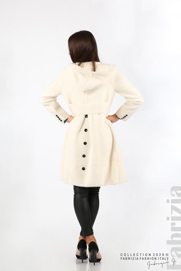 Дълго палто с качулка екрю 5 fabrizia