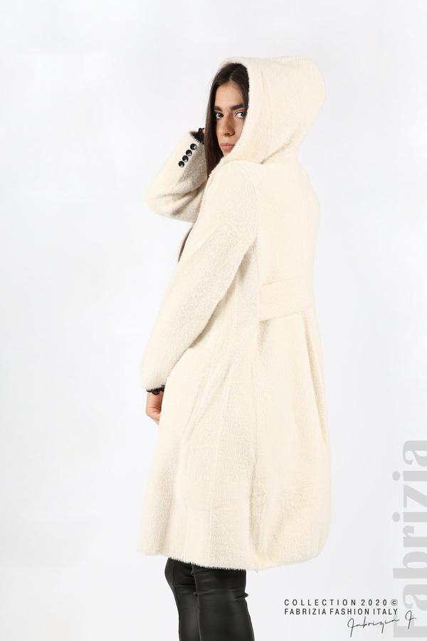 Дълго палто с качулка екрю 6 fabrizia