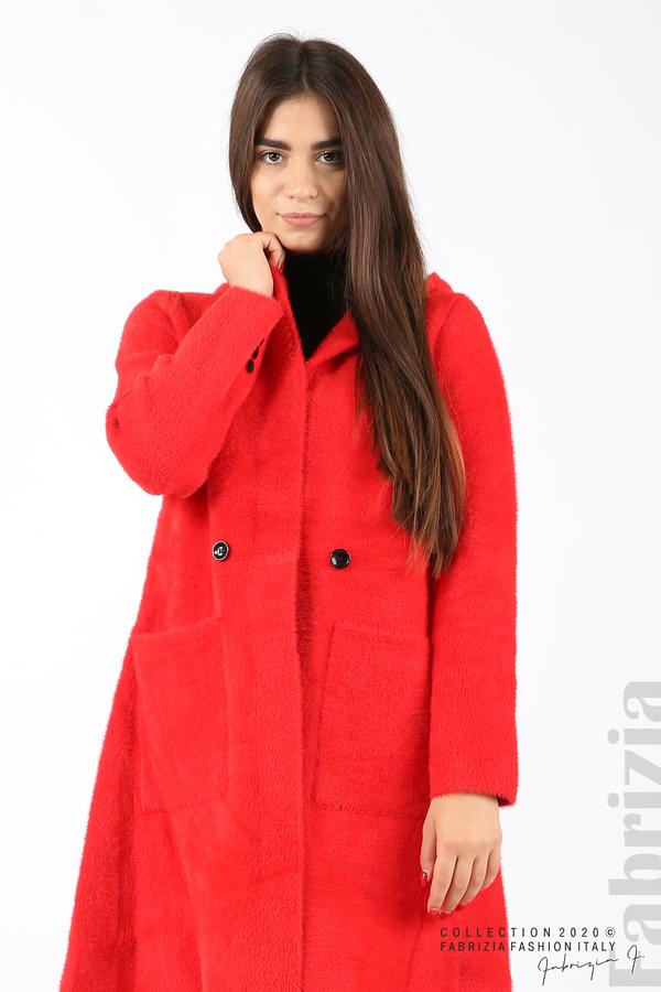 Дълго палто с качулка червен 4 fabrizia