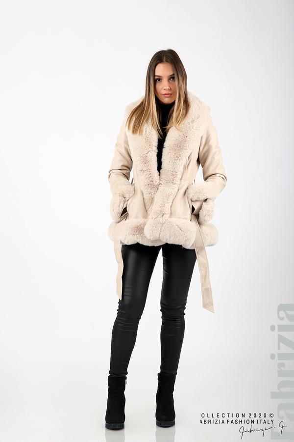 Късо кожено палто бежов 3 fabrizia
