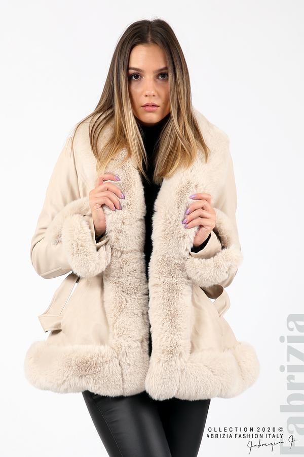 Късо кожено палто бежов 2 fabrizia