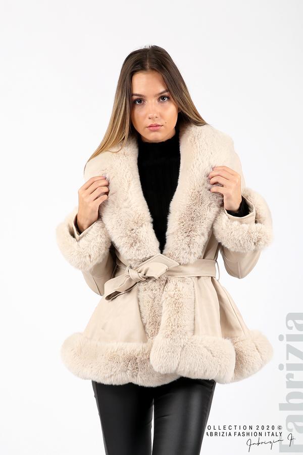 Късо кожено палто бежов 4 fabrizia