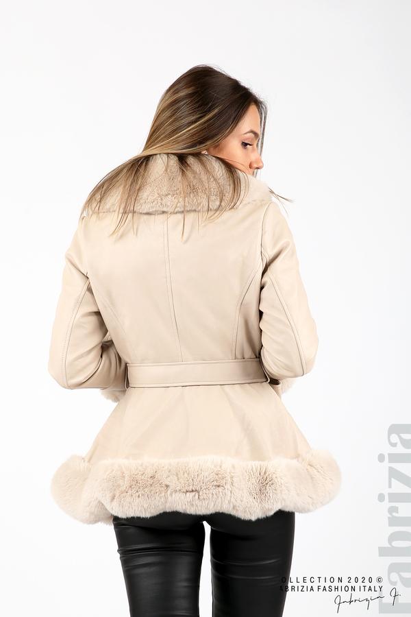 Късо кожено палто бежов 6 fabrizia