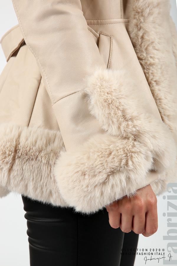 Късо кожено палто бежов 5 fabrizia