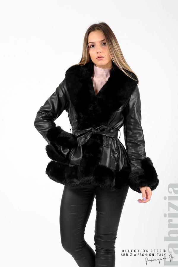 Късо кожено палто черен 4 fabrizia