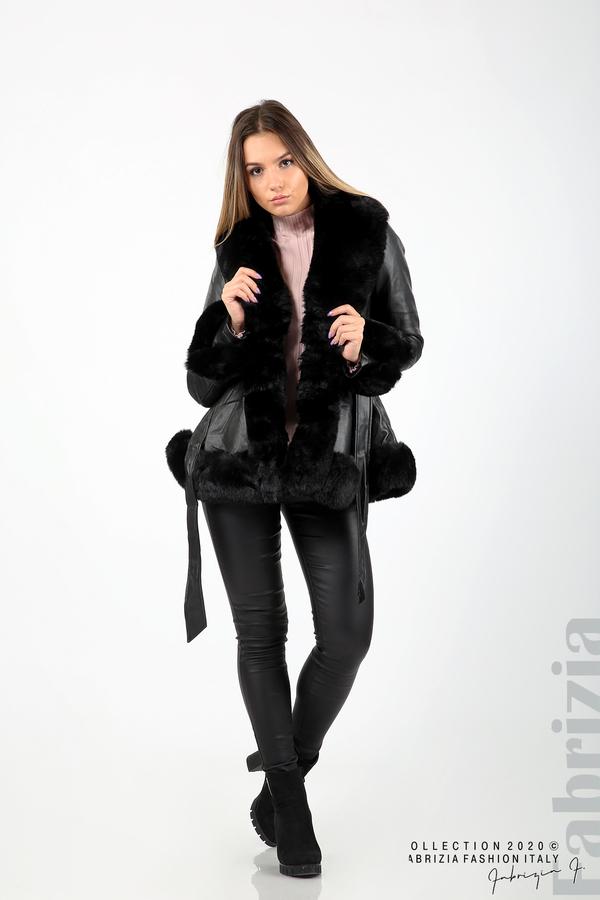 Късо кожено палто черен 3 fabrizia