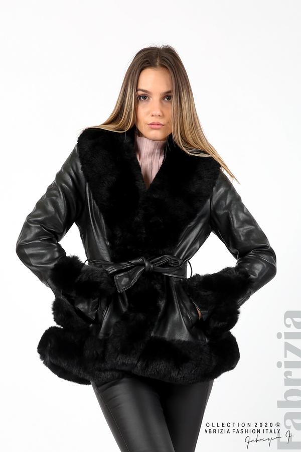 Късо кожено палто черен 1 fabrizia