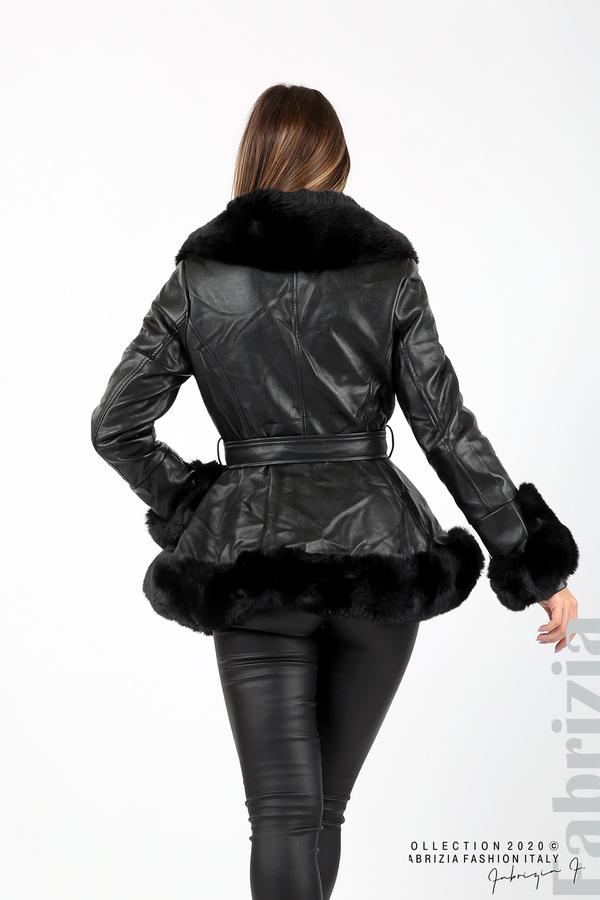 Късо кожено палто черен 7 fabrizia