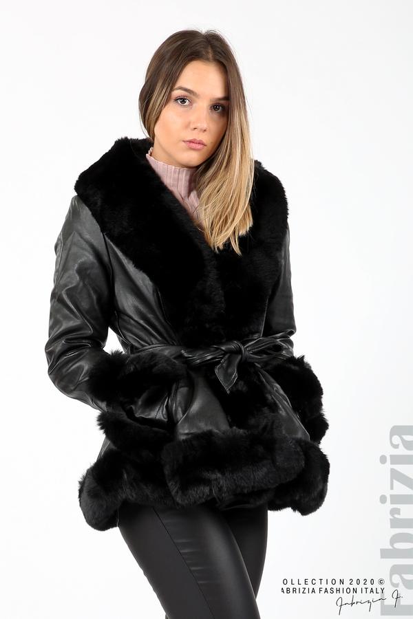 Късо кожено палто черен 2 fabrizia