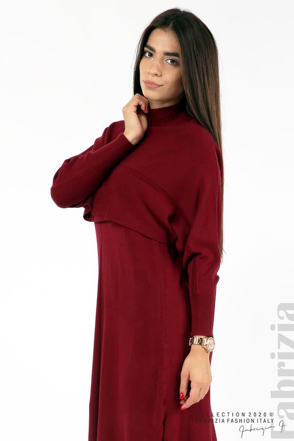 Комплект рокля без ръкав и широка блуза бордо 3 fabrizia