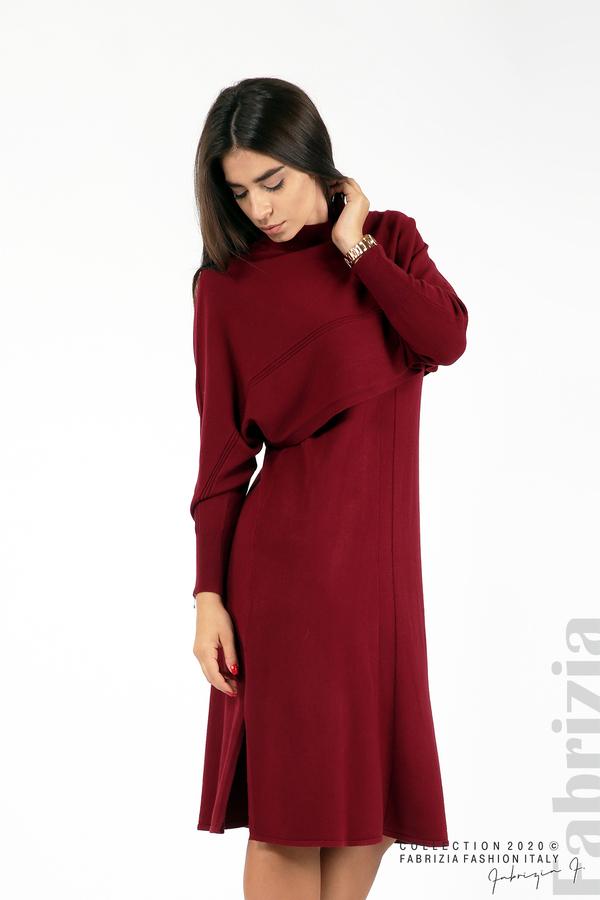 Комплект рокля без ръкав и широка блуза бордо 4 fabrizia
