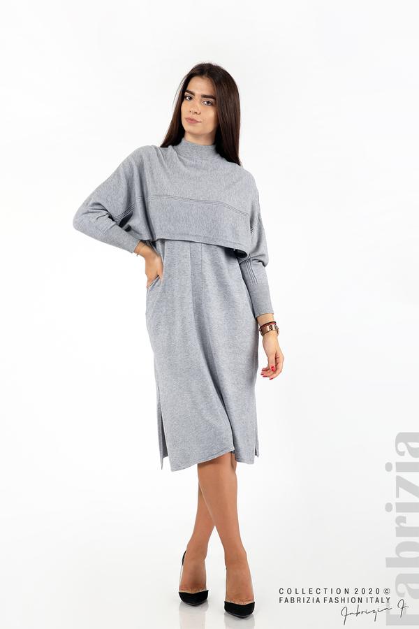 Комплект рокля без ръкав и широка блуза сив 1 fabrizia