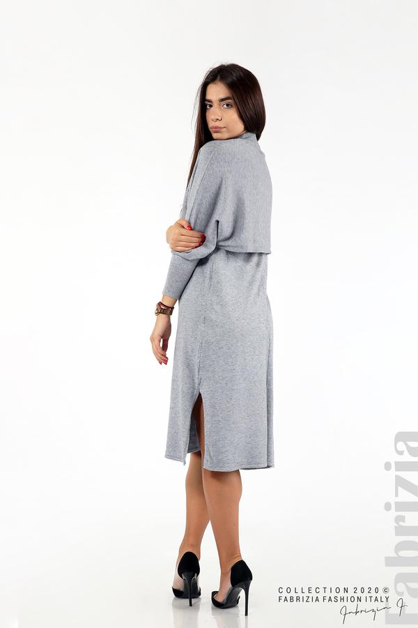 Комплект рокля без ръкав и широка блуза сив 3 fabrizia