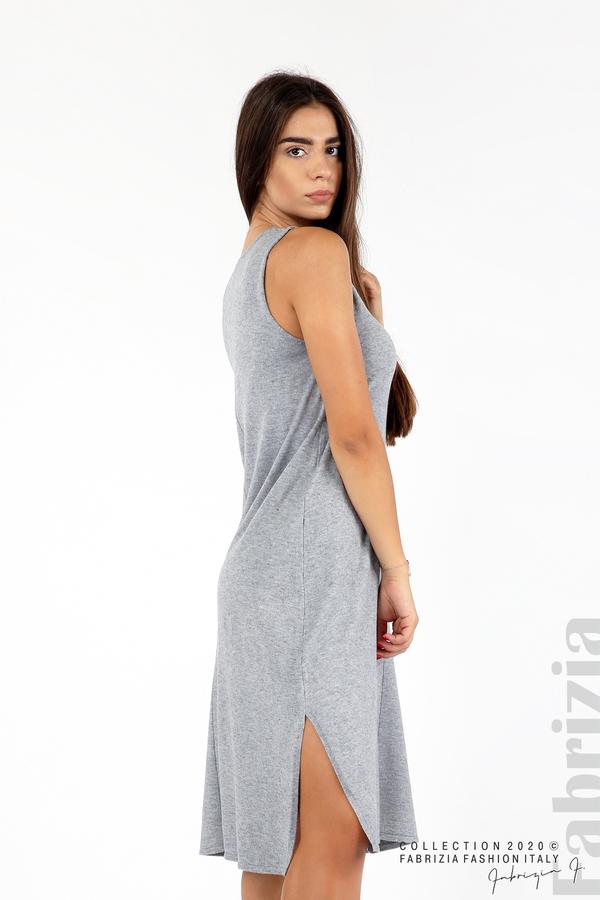 Комплект рокля без ръкав и широка блуза сив 5 fabrizia