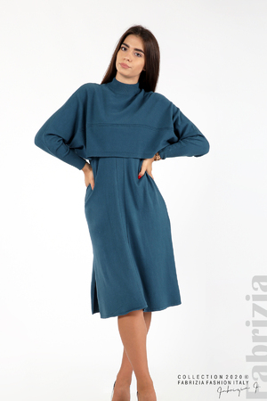 Комплект рокля плетиво без ръкав с широка блуза