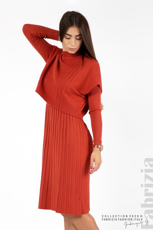 Комплект рипсена рокля и горна част без ръкави керемида 5 fabrizia