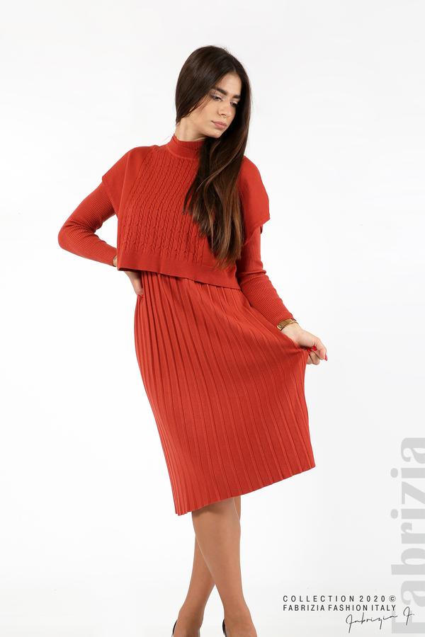 Комплект рипсена рокля и горна част без ръкави керемида 6 fabrizia