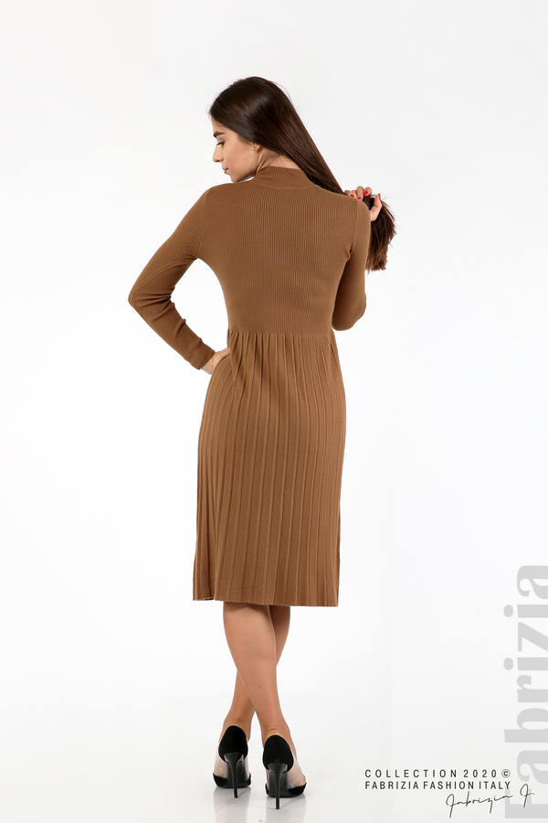 Комплект рипсена рокля и горна част без ръкави камел 7 fabrizia