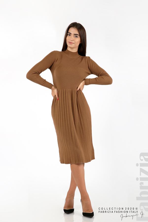 Комплект рипсена рокля и горна част без ръкави камел 1 fabrizia