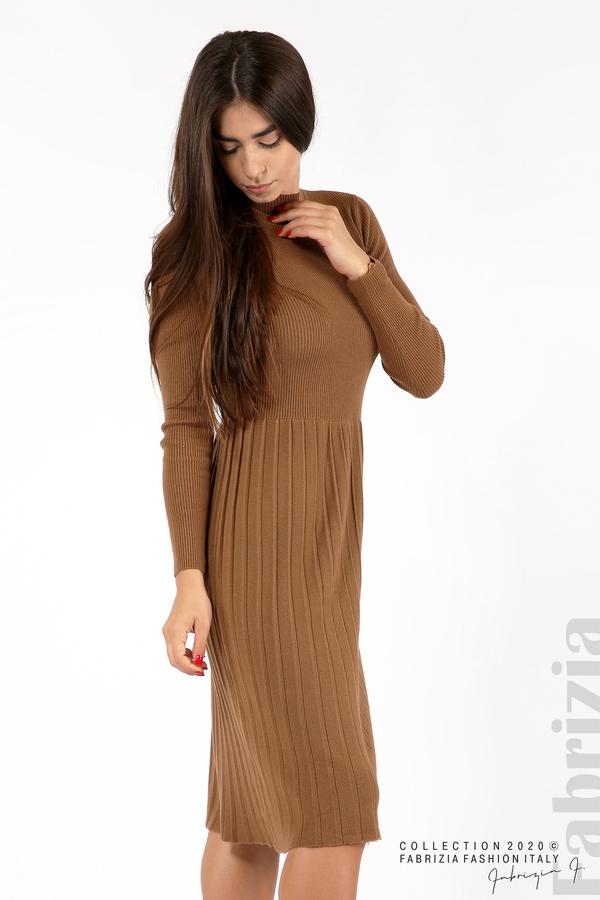 Комплект рипсена рокля и горна част без ръкави камел 5 fabrizia