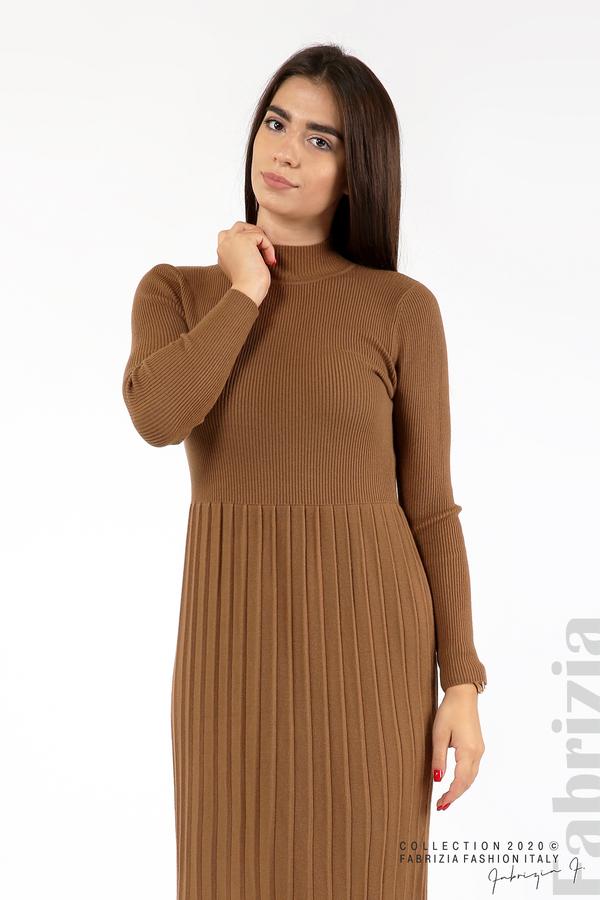 Комплект рипсена рокля и горна част без ръкави камел 6 fabrizia