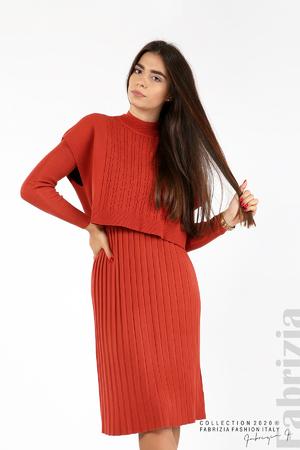 Комплект рокля плетиво и блуза без ръкав
