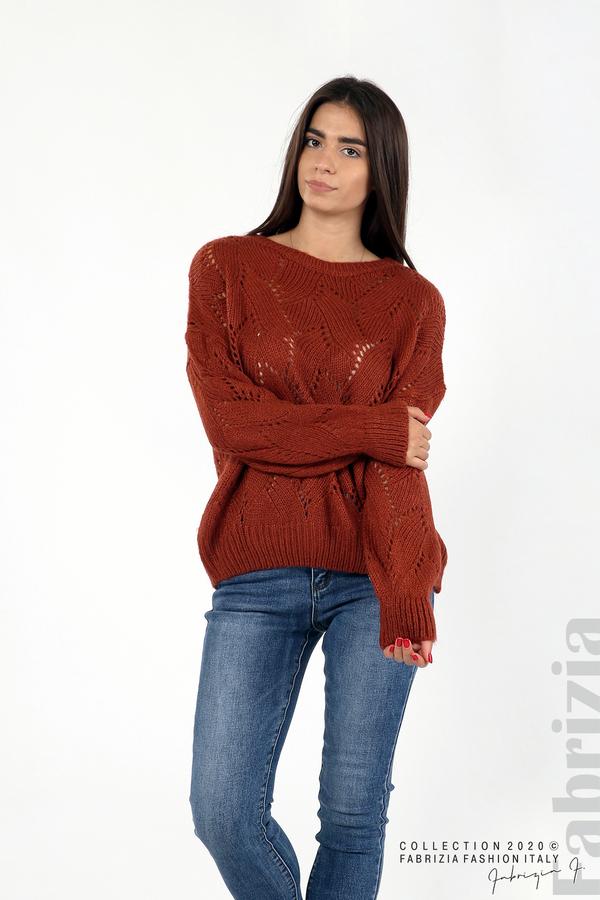 Свободна блуза едро плетиво кафяв 4 fabrizia