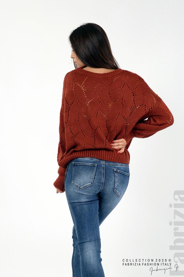 Свободна блуза едро плетиво кафяв 6 fabrizia