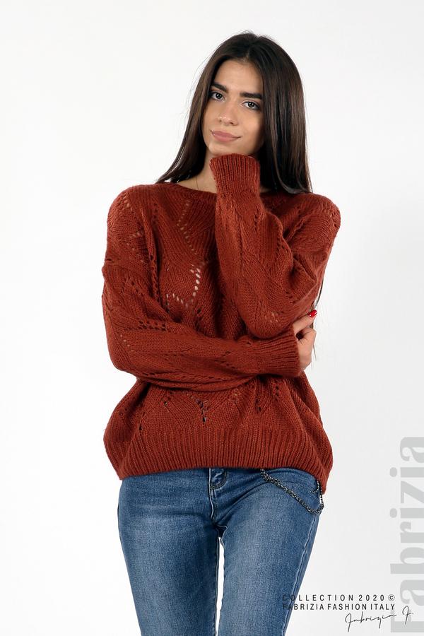 Свободна блуза едро плетиво кафяв 2 fabrizia