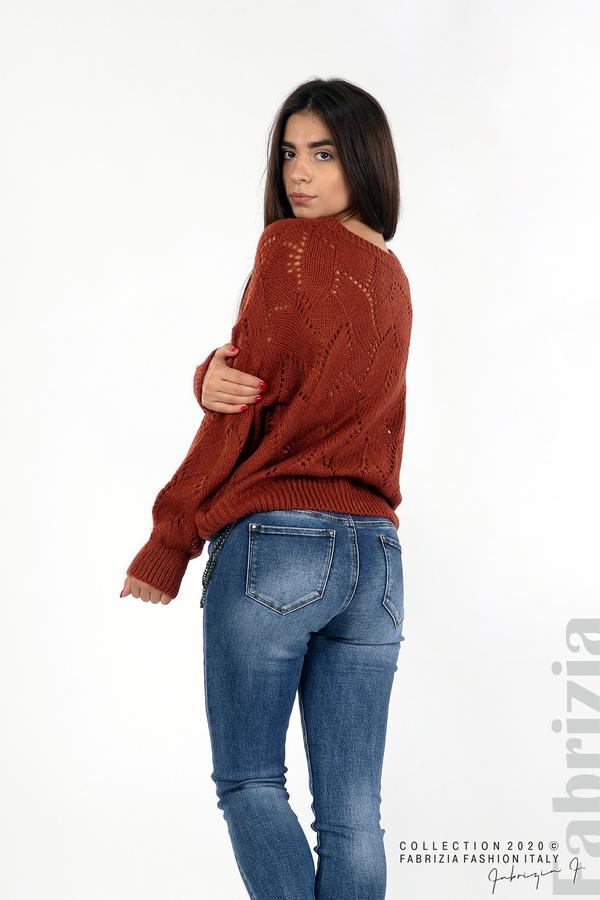 Свободна блуза едро плетиво кафяв 5 fabrizia