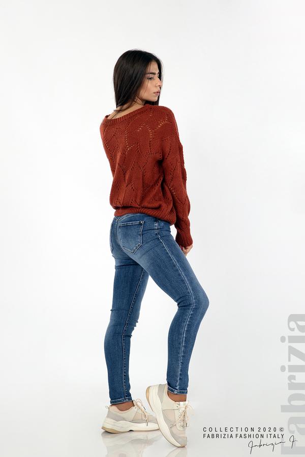 Свободна блуза едро плетиво кафяв 3 fabrizia