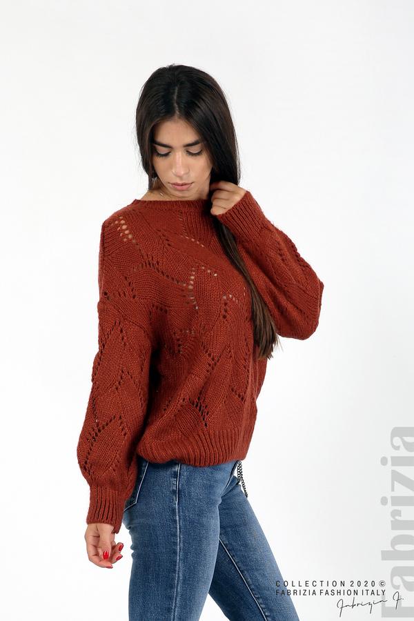 Свободна блуза едро плетиво кафяв 1 fabrizia
