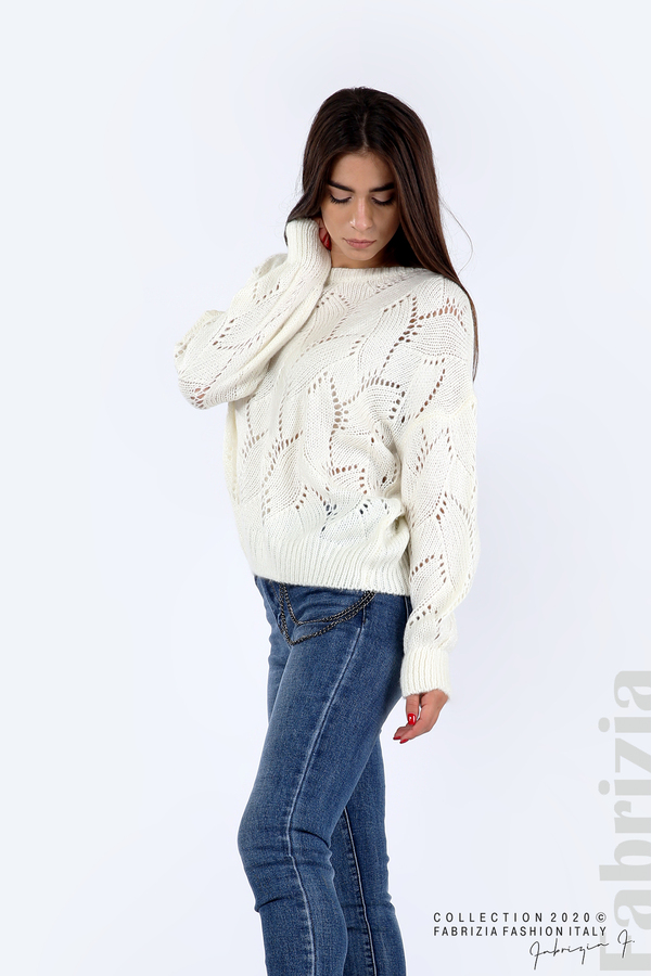 Свободна блуза едро плетиво бял 3 fabrizia