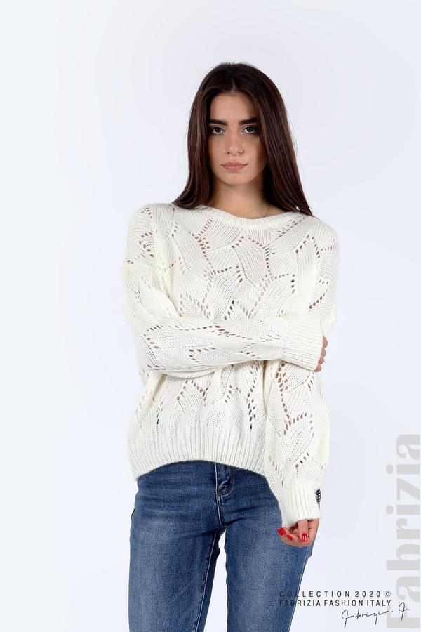 Свободна блуза едро плетиво бял 1 fabrizia