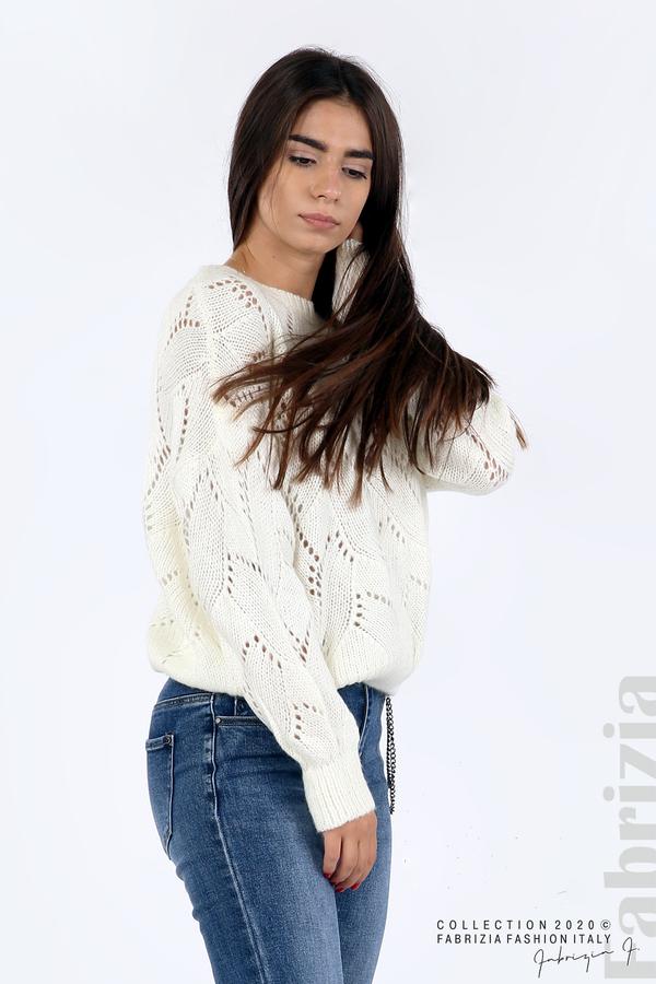 Свободна блуза едро плетиво бял 2 fabrizia