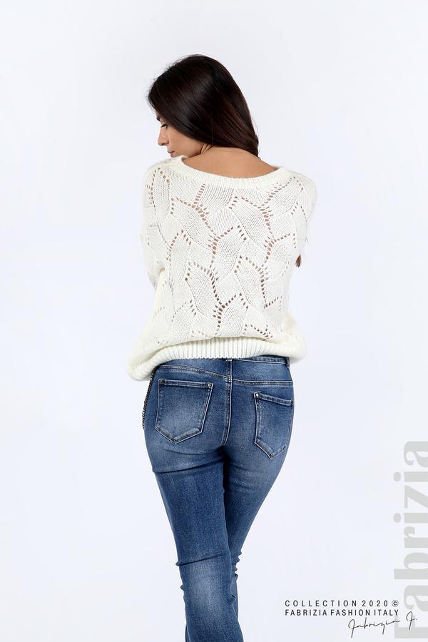 Свободна блуза едро плетиво бял 5 fabrizia