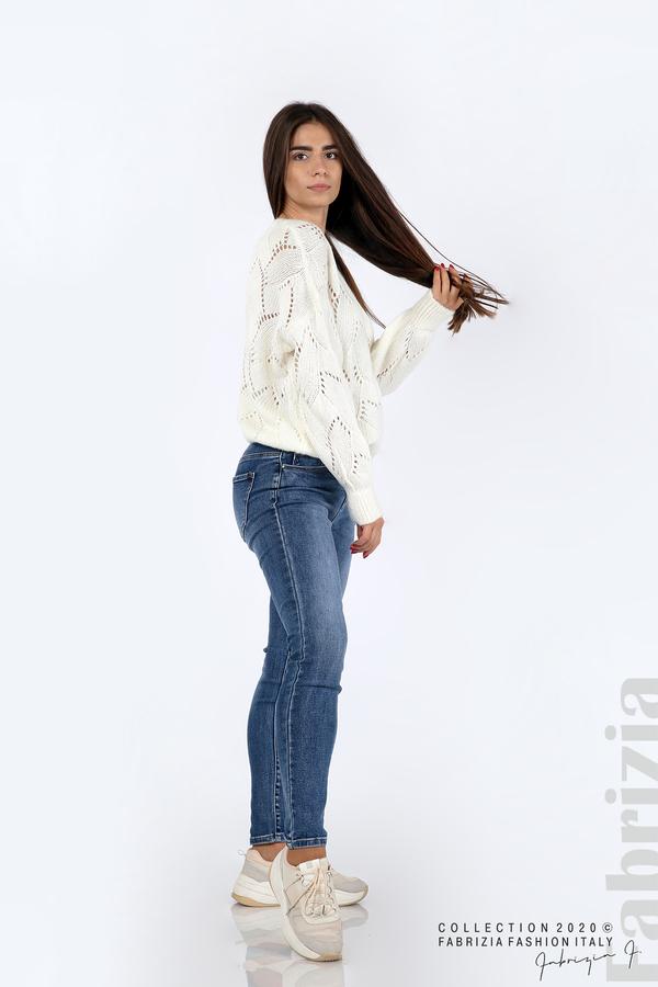 Свободна блуза едро плетиво бял 4 fabrizia