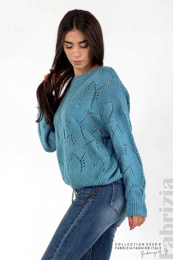 Свободна блуза едро плетиво д.син 3 fabrizia